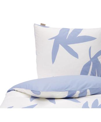 Baumwoll-Bettwäsche Simple Leaves mit Blättermotiv in Blau