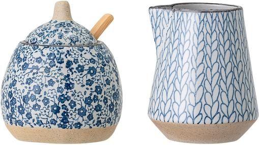 Handgemachtes Milchkännchen & Zuckerdose Camellia aus Porzellan, 2er-Set