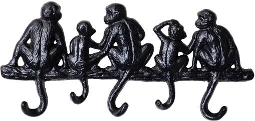Kleine Wandgarderobe Monkey in Schwarz