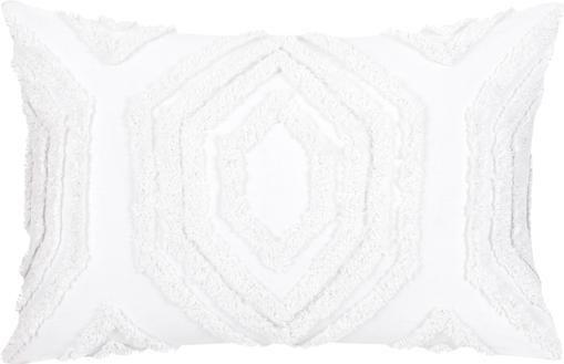 Kissenhülle Faye in Weiß mit getuftetem Muster