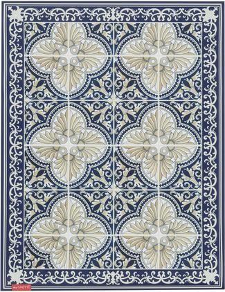 Flache Vinyl-Bodenmatte Luis in Blau/Beige, rutschfest