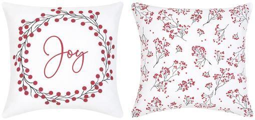 Kissenhüllen Joy mit winterlichen Prints, 2er-Set