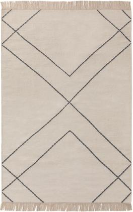 Handgewebter Kelim-Teppich Vince mit Zick-Zack-Muster und Fransen