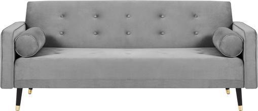 Samt-Schlafsofa Gia (3-Sitzer) in Hellgrau mit Holz-Füßen, ausklappbar