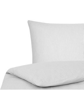 Baumwoll-Bettwäsche Ellie in Weiß/Grau, fein gestreift