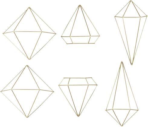 Wandobjekte-Set Prisma aus lackiertem Metall, 6-tlg.