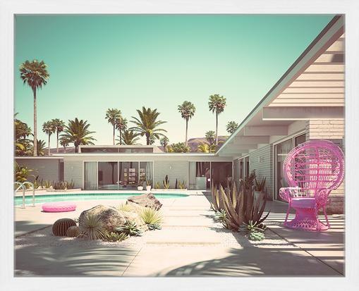 Impresión digital enmarcada rosa Vacation