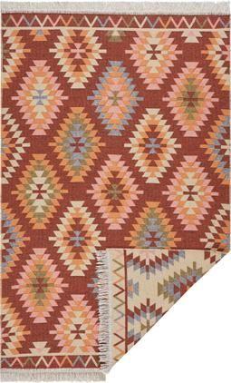 Dünner Kelimteppich Tawi im Ethno-Style aus Baumwolle