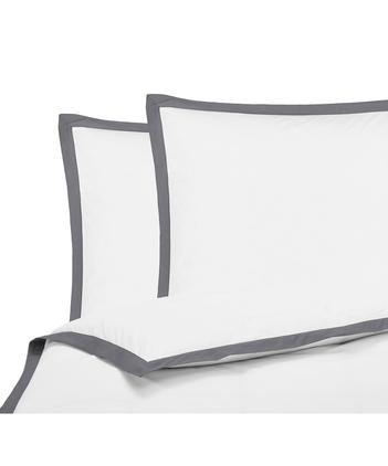 Baumwollperkal-Bettwäsche Joanna in Weiß mit grauem Stehsaum