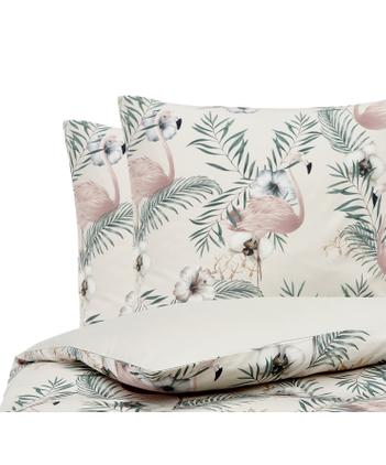 Baumwollsatin-Bettwäsche Elliana mit Flamingo-Print
