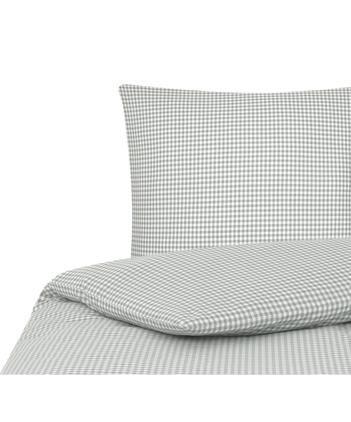 Karierte Baumwoll-Bettwäsche Scotty in Grau/Weiß