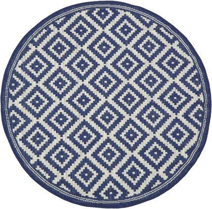 Vzorovaný koberec do interiéru/exteriéru Miami, modrá/biela