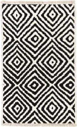 Kelimteppich Mozaik in Schwarz/Weiß