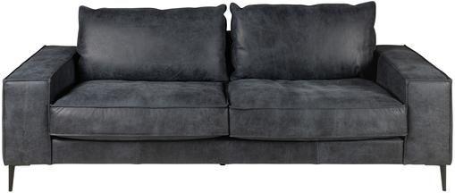 Leder-Sofa Brett (3-Sitzer) in Schwarz-Grau im Industrial Design