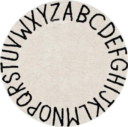 Teppich ABC mit Buchstaben Design, rund