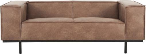Leder-Sofa Abigail (2-Sitzer) in Braun mit Metall-Füßen