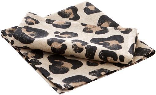 Baumwoll-Servietten Jill mit Leoparden-Print, 2 Stück