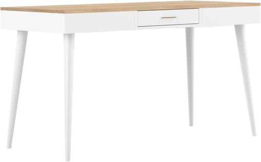 Schreibtisch Horizon in Weiß mit Eichenholz-Optik