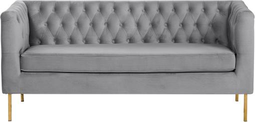 Chesterfield-Samt-Sofa Chiara (2-Sitzer) in Grau