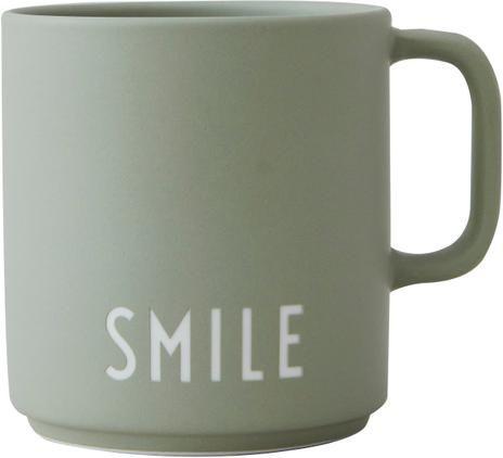 Design Kaffeetasse Favourite SMILE in gedecktem Grün mit Schriftzug