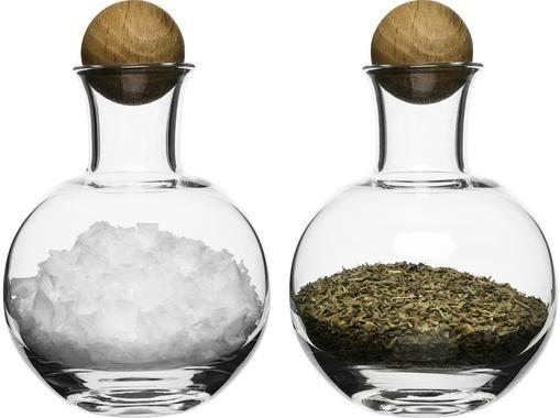 Mundgeblasene Gewürzflaschen Eden mit Holzdeckel, 2 Stück
