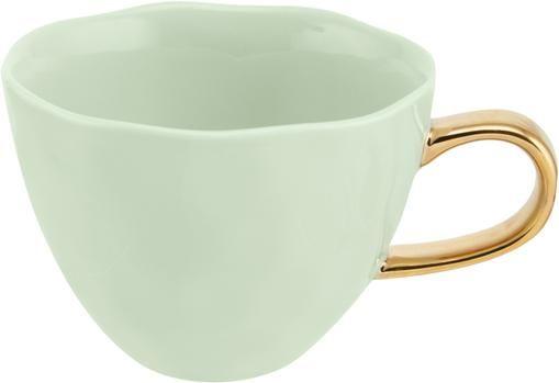 Tasse Good Morning in Mint mit goldenem Griff