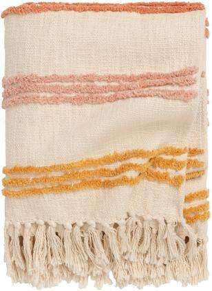 Baumwolldecke Lea mit bunten Streifen und Fransen