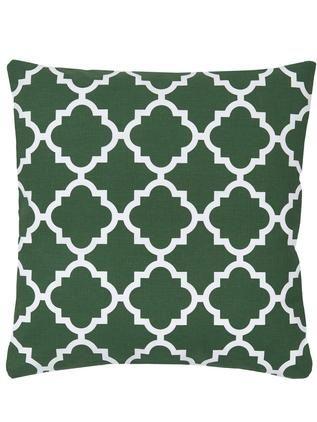 Kissenhülle Lana in Dunkelgrün mit grafischem Muster