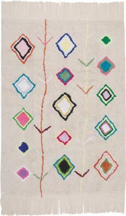 Handgefertigter Teppich Kaarol mit buntem Muster, waschbar