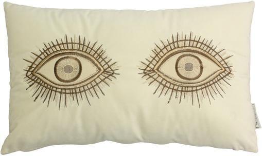 Samt-Kissen Eyes mit Stickerei, mit Inlett