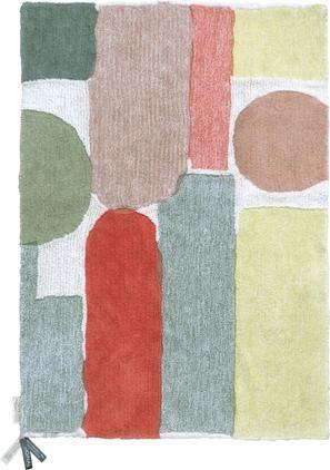 Waschbarer Wollteppich Woolable Abstra mit buntem Muster