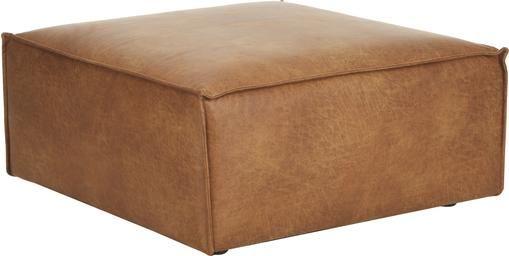 Sofa-Hocker Lennon in Braun aus recyceltem Leder