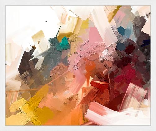 Gerahmter Digitaldruck Abstract Colorful Oil Painting