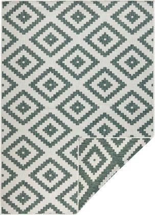 Obojstranný koberec do interiéru/exteriéru Malta, zelená/krémová
