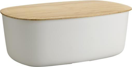Designer Brotkasten Box-It in Hellgrau mit Bambusdeckel