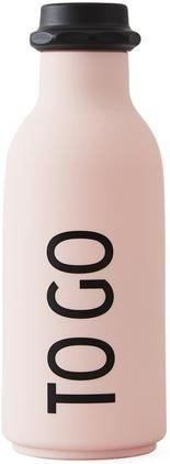 Design Isolierflasche TO GO in Rosa mit Schriftzug