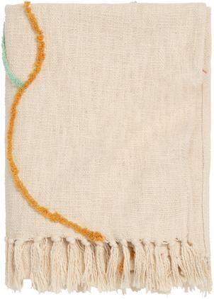 Baumwolldecke Malva mit bunten Linien und Fransen
