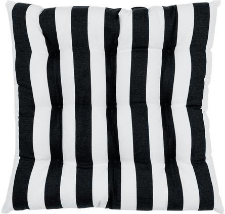 Gestreiftes Sitzkissen Timon in Schwarz/Weiß