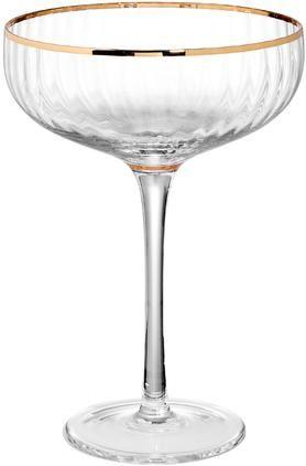 Grosse Champagnerschalen Golden Twenties mit Goldrand, 2 Stück