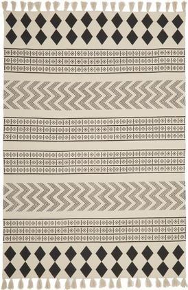 Ručne tkaný bavlnený koberec v etno štýle Edna
