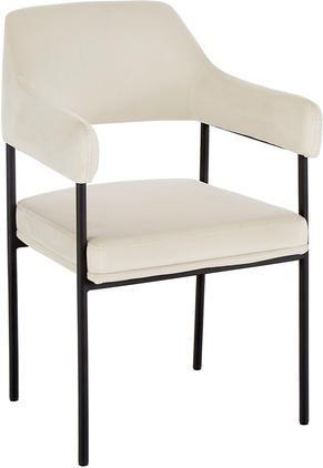 Samt-Armlehnstuhl Zoe in Cremeweiß