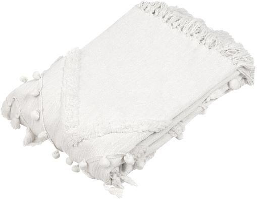 Baumwollplaid Pana mit Quasten und Pompoms