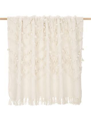 Boho Baumwolldecke Pana mit Quasten und Pompoms