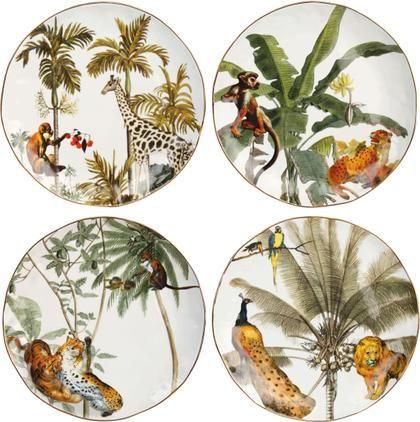 Frühstücksteller Animaux mit Goldrand und tropischen Motiven, 4er-Set