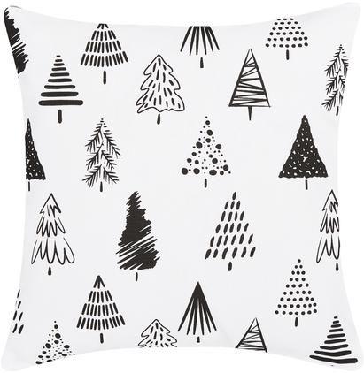 Kissenhülle Scandi mit Weihnachtsbäumen in Schwarz/Weiss