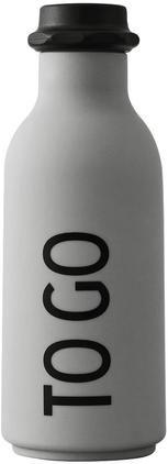 Design Isolierflasche TO GO in Grau mit Schriftzug