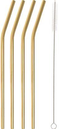 Set 4 cannucce dorate con spazzolino Shine