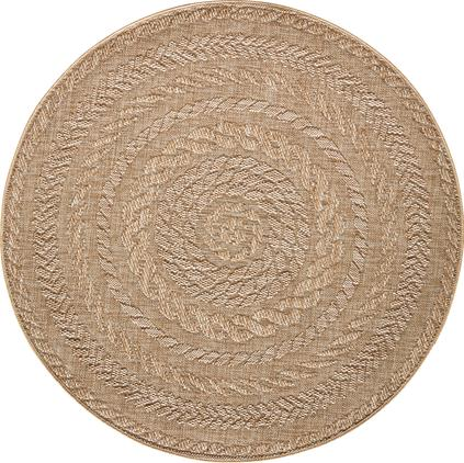 Runder In- & Outdoor-Teppich Almendro in Jute Optik