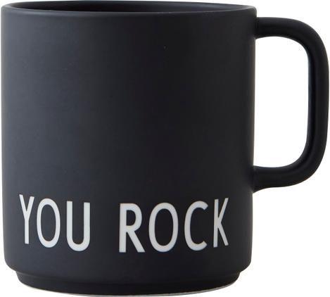 Design Kaffeetasse Favourite YOU ROCK in Schwarz mit Schriftzug