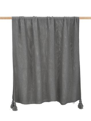 Strickdecke Lisette in Grau mit Quasten